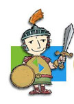Max is a Cartoon Character that looks like a Roman Soldier